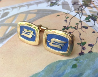 Handsome Gentleman's Vintage Sterling Silver Cuff-Links with Flying Bird Motif
