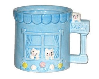 Vintage 80s Blue Ceramic Kitten House Coffee Mug