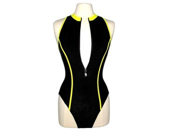 Vintage 80s 90s BALTEX BODY I.D. Black & Yellow High-Neck Zip-Front One Piece Swimsuit- Size 10