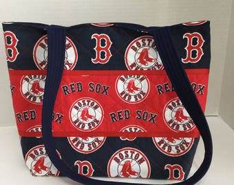 Boston Red Sox Quilted Purse - Quilted Tote -  Shopping Bag - Shoulder Bag - NHL Tote - MLB Tote - Beach Bag - Red Sox Tote