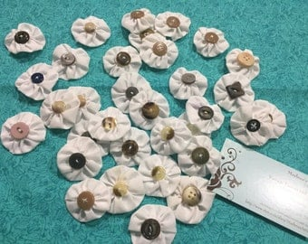 Set of 33 White handmade Yo Yo's with buttons for quilts, blankets, pillows, crafts by MarlenesAttic