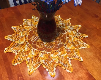 Vintage 23 inch Orange and White Star Hand Crochet doily for housewares, home decor, pillows, christmas, holiday, bags by MarlenesAttic