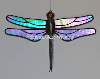 Stained Glass DRAGONFLY Suncatcher - Wispy Iridescent Turquoise Wings - USA Handmade Original, Turquoise Dragonfly, Stained Glass Dragonfly