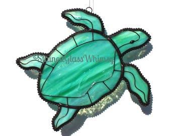 Stained Glass SEA TURTLE Suncatcher, Wispy Aqua Turquoise, Green, with white, Original Design, Sea Turtle Suncatcher, Ocean Beach Decor
