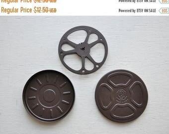 ON SALE Vintage Dark Brown Film Reel and Dark Brown  Canister