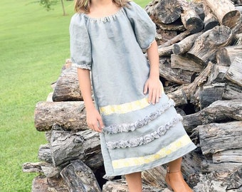 Grey Linen Dress | Linen Dress | Washed Linen Dress | Photo Shoot Dress | Ellie Ann and Lucy