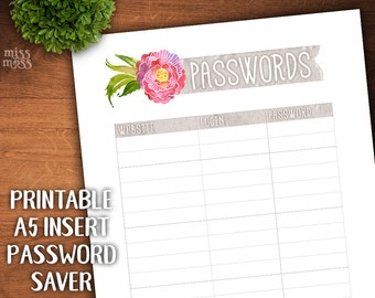 Printable A5 Size Password List || digital download planner printable erin condren happy planner filofax organizer to do lists
