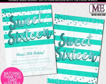 Teal Stripes & Confetti Sweet 16 Party Invitations