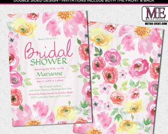 Pretty, Spring floral Bridal Shower Invitations