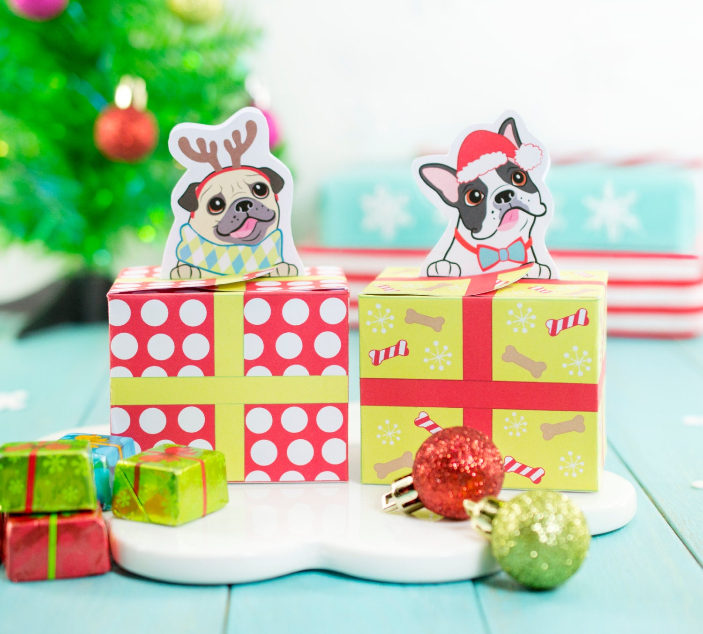 Printable Christmas Puppy Dog Gift Boxes DIY Christmas Treat