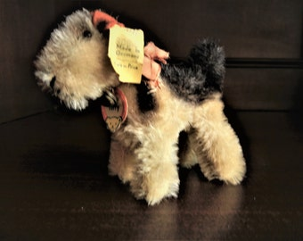 "Steiff Vintage Antique Airedale Terrier Dog "" Terry ""ALL IDs Handmade Doll Size Miniature Doll Size  Foxterrier 1951-57 Ex.Cond."