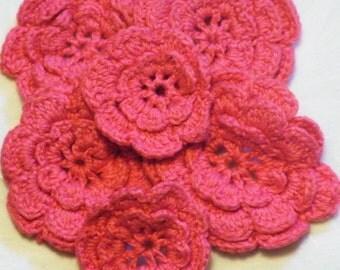 6 Pink Crochet Flowers, Crochet Flowers, Vintage Crochet Flowers, Flower Appliques, Crochet Flower Appliques
