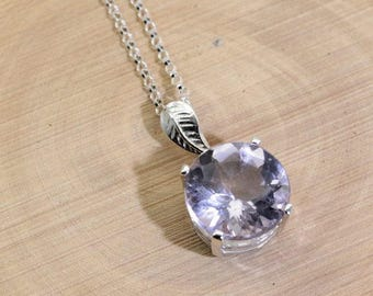 Amethyst ('Rose de France' Amethyst, Natural), 12mm x  5.65 Carat, Round Cut, Sterling Silver Pendant Necklace