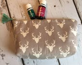 New Essential Oil bag, travel case, zipper bag, Grey Deer holds  12-14)