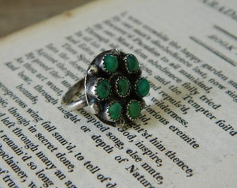 Vintage Turquoise Sterling Silver Ring. Size 3.5. Southwestern Jewelry. Bohemian.
