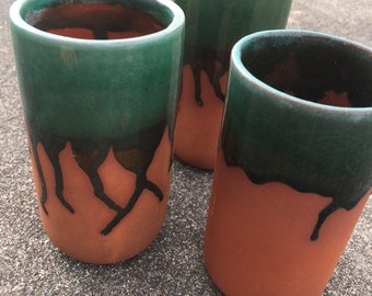 Vintage Mexican clay Drinking glasses