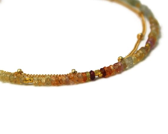 Multi Sapphire Bracelet. Yellow Sapphire Jewelry. Ombre Beaded Bracelet. Double Layer Bracelet. Skinny Bracelet. B-2193-4