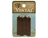 Vintaj natural brass rectangle tag - rectangle blank - 41x8.5mm stamping blank- 4 rectangle metal blanks - brass charms - brass tag
