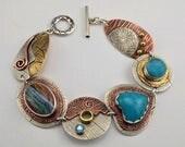 Blue Stone Bracelet - Metalsmith Bracelet - Artisan Bracelet - Mixed Metal Bracelet