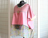 Revamp Sale Pink Tunic Top Shirt with Side Slits Bohemian Layering Pink Green Coral Floral Spring Clothing Plus Size 2x 3x