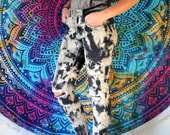 Acid Wash Jeans - Tie Dye Pants - Acid Dye Pants - High Waisted Jeans - Acid Wash Denim Jeans