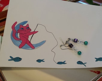 handmade sparkly earrings with greeting card girlfriend gift idea  FREE SHIPPING USA