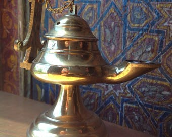 Genie Incense Burner,  Jinn, Jeannie, Lamp, Incense Burner, Brass, Genie in a bottle, Aladdin, Aladdin's lamp, Djinn