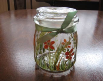 Hand Painted Glass Jar With Lid, Intention or Dream Jar, Apothecary Jar, Florida Floral Decor, Tea or Herb Jar
