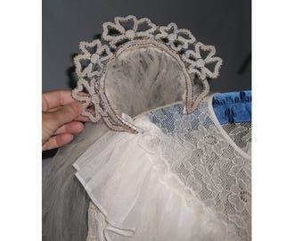 SALE Vintage WEDDING DRESS, ca1940, Peplum Train  Trailing Veil Beaded Headband, Bridal