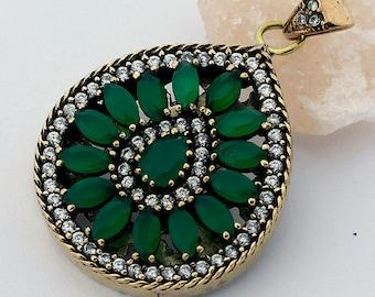 Emerald Topaz Pendant Handcrafted Tear Drop 925 Sterling Silver