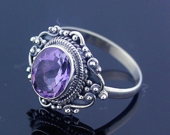 Handmade Amethyst Ring Size 7 Sterling Silver 925 Jewelry