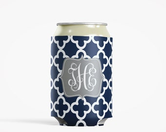 Personalized Can Insulator, DIY Custom Bottle Insulated Beverage Container, Navy Clubs