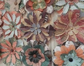 """PAPER FLOWERS set/3 """"A Walk in the Woods"""" - Shades of Green Beige Brown Peach 5 Layers with Metal Brads"""