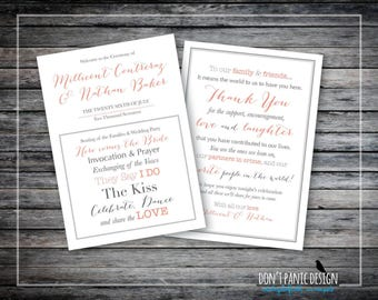 "Printable Wedding Program - Simple Elegant Printable Order of Service - 5"" x 7"" Program - Fun Wedding Program - Custom Colors"