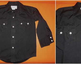 Vintage Boys Shirt Black Rockmount Western Shirt Child Rockabilly Diamond Pearl Snap Shirt LS Boys Western Shirt US Kids sz 6 chest to 28 in