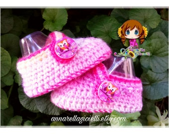 Calze bimbo, bimba, su ordinazione, 0-12 mesi, rosa , gufo, bimbi, socks, scarpette, scarpine, calzini, neonato, baby, uncinetto