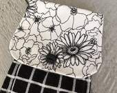 Hanging Kitchen Towel- Black White Daisy Flowers Print Black White Grid Window Pane Terry Cloth Towel Button Closure