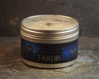 Soy Candle Tin - 8 oz in TARDIS Scent