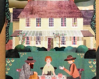 Bloomsbury Group, Virginia Woolf, Tea Party, Garden, Naive Art, Collage, Illustration, Country House, Green, Literature, Writers Houses