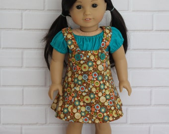Green Peasant Top Brown Pinafore Skirt Doll Clothes to fit 18 inch dolls to 20 inch dolls such as American Girl & Australian Girl dolls