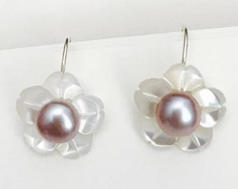 Cherry Blossom Natural Mother of pearl flowers and culture pearl hoop.