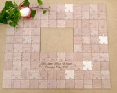 100 pcs Picture Frame Puzzle Custom Wedding Guest Book Puzzle for 5 x 7 Photo with 100 Mixed Grain Pieces