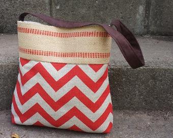Red and Grey Chevron Zig Zag Pleated Handbag Purse Tote Bag with Jute Webbing