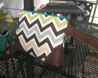 Clutch Wristlet Makeup Pouch Phone Case in Brown and Multicolor Chevron with Divider