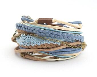 Cotton lace Boho Wrap Bracelet, bohemian jewelry, eco friendly jewelry, wooden beads bracelet, summer bracelet, wooden beads bracelet