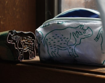 Little Rhino - rectangle purse, handmade, hand stamped, indigo dyed, pencil case