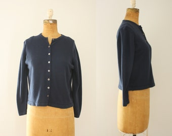 1960s cashmere cardigan | vintage navy sweater