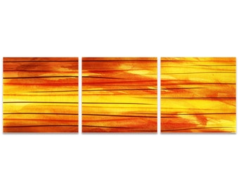 Orange Metal Art 'Momentum Triptych Large' by Amber LaRosa - Modern Artwork Abstract Wall Art on Metal or Acrylic