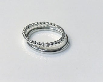 FLASH SALE - Sterling Silver Halo Double  1 chunky bead and 1 contemporary halo - size L and L1/2