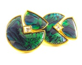 Earrings Vintage Abalone Green Blue Hue Shell Clip On Style Signed Butler Fifth Avenue